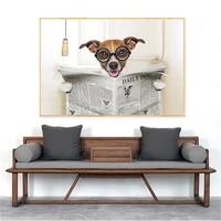 Peinture sur toile avec chien et homme  decoration murale moderne  affiche imprimee
