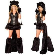 Nowy seksowny czarny Teddy kostium misia dla dorosłych kot dziewczyna przebranie na karnawał Halloween kostiumy dla kobiet Fantasia Party mundury zestaw