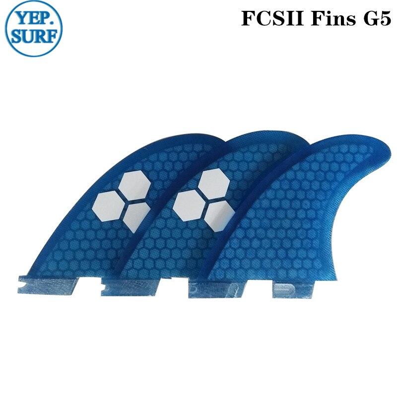 Tabla de surf FCS2 G5 aletas color azul panal Fibreglass aleta Tri juego de aletas