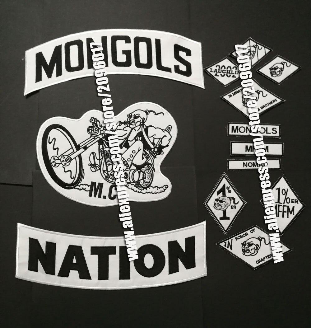 13 unids/set de parches Mongols para chaqueta de motorista, ropa, insignias de jinete de nación, apliques MFFM, parches adhesivos de hierro