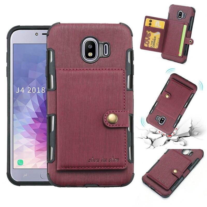 Funda trasera con ranuras para tarjetas para Samsung Galaxy J4 J6 J7 J8 Plus 2018 Funda de cuero cepillado para Samsung J7 NEO Nxt J5 J7 2017 Fundas