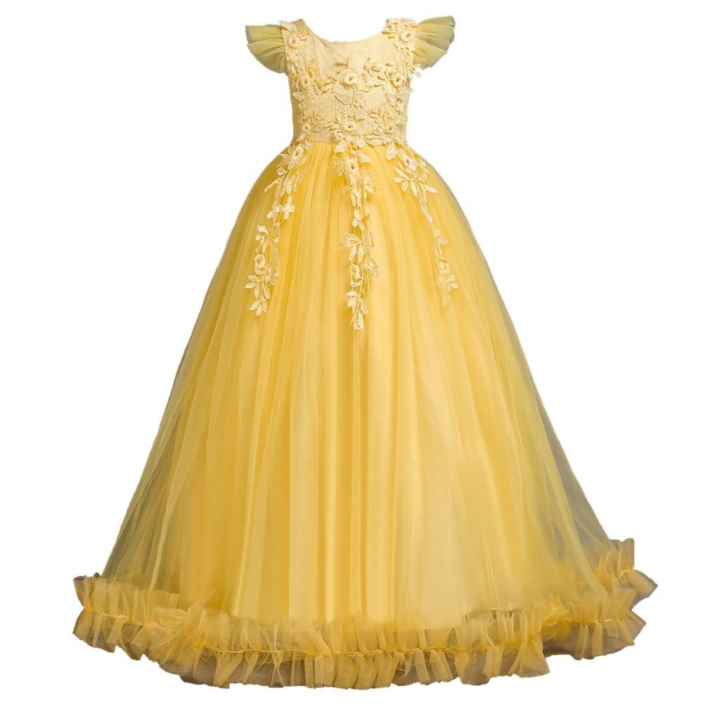 Vestido para fiesta chica de la boda sin mangas uniforme vestido de encaje tul princesa Vestidos amarillos niños cumpleaños ropa BW131