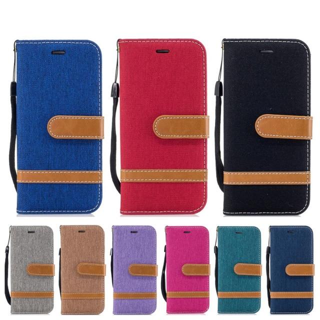 Funda Cartera de cuero de PU de lona de vaquero para Sony Xperia XA1 XZS XZ tela de mezclilla estilo bolso bolsas geniales para tarjetas
