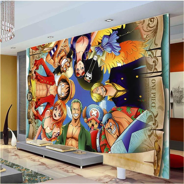 One Piece Wall Mural Japanese anime Custom Large Photo wallpaper Cartoon Room Decor wall Art Bedroom Children's room Free ship