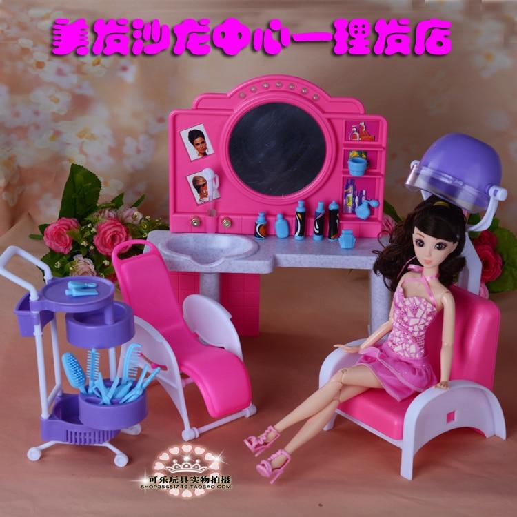 Новая забавная кукла, Парикмахерская, мебель для парикмахерского салона, игровой дом для кукол Барби, 1/6 головоломка, игрушки для девочек