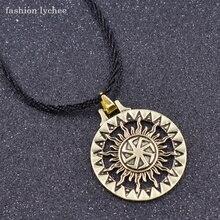 Mode litchi Kolovrat soleil rond géométrique pendentif collier or argent couleur breloque corde chaîne hommes collier