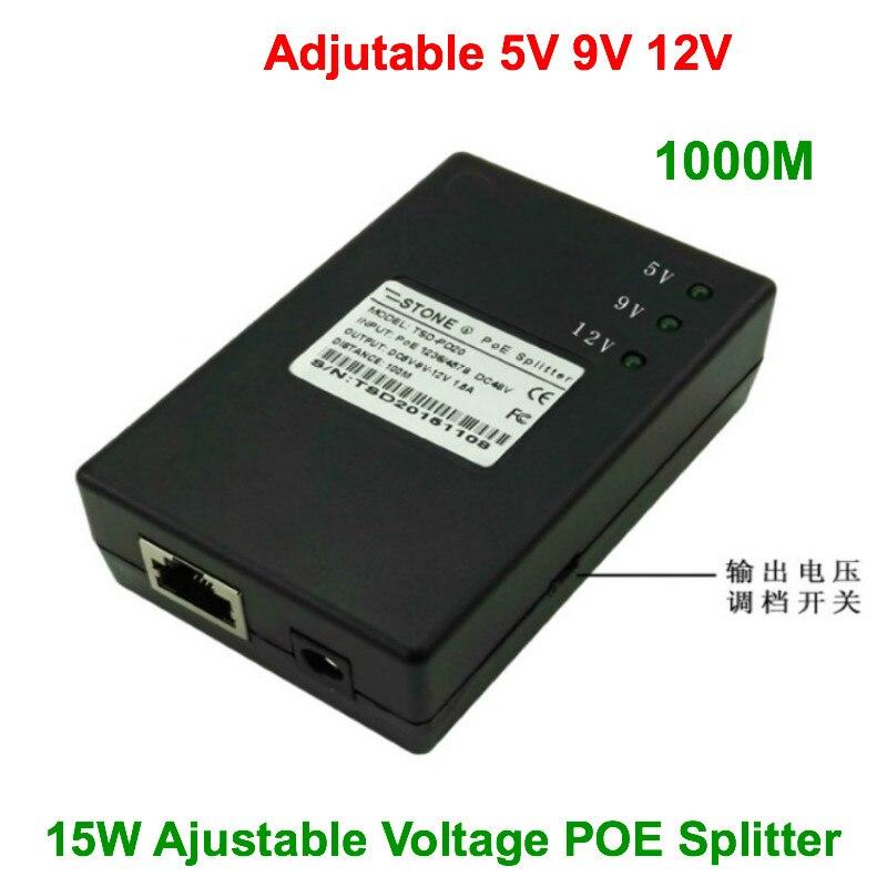 Divisor de tensión regulable 3A 5 V/1.5A 9 V/1.3A 12V 15W potencia sobre divisor Ethernet 802.3af potencia para IPC 1000M POE