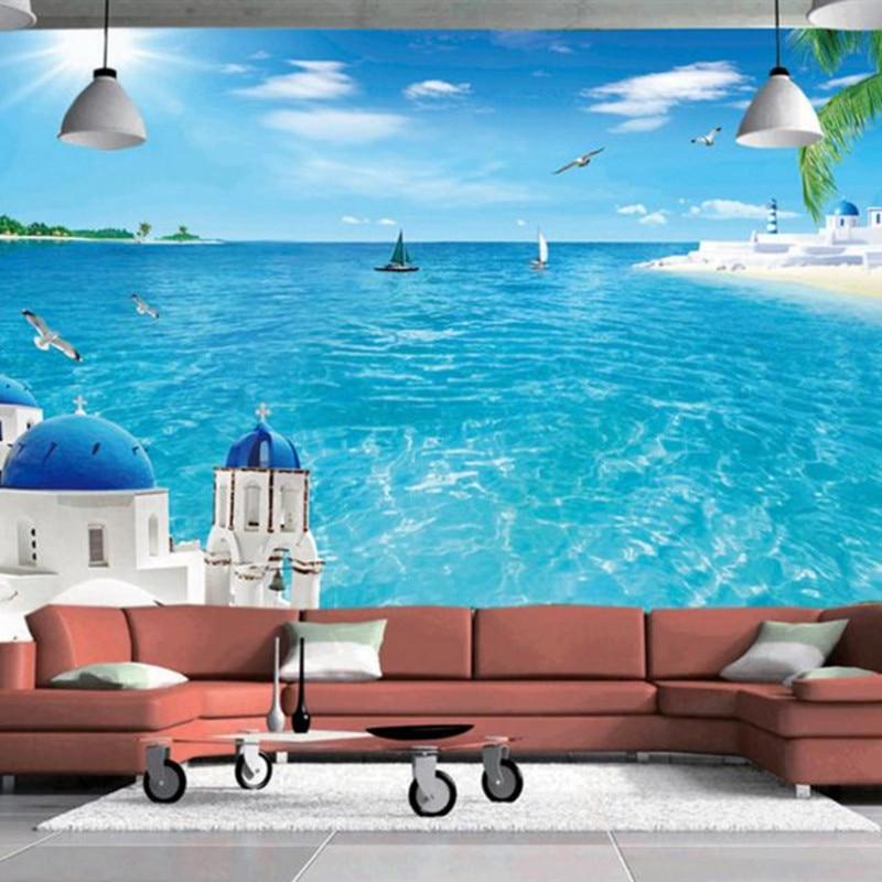 Papel tapiz grande personalizado, murales estereoscópicos 3D de paisaje, foto de turquesa, papel tapiz de árbol de mar azul, decoración del hogar para la sala de estar