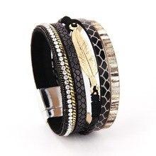 Zig mode alliage plume feuilles large magnétique en cuir bracelets et Bracelets multicouches bracelets bijoux pour femmes hommes cadeau