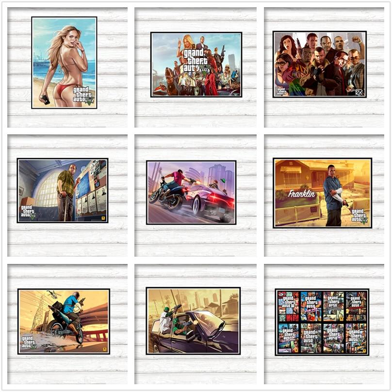 GTA 5 Grand Theft Auto San Andreas игровая бумага с покрытием постер росписи де сравнению Pegatinas Decoracion Del Hogar