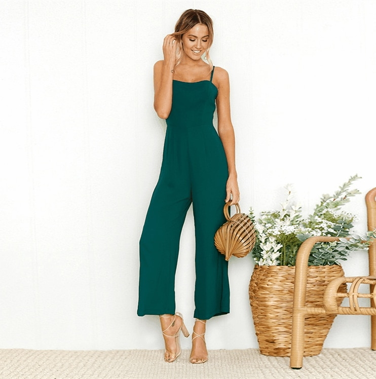 Hot Jumpsuit Women Playsuit Bodycon Sexy Backless High Waist Spaghetti Strap Casual Wide legs Pants Elegant Fashion Party