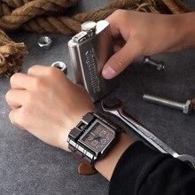 Oulm 3364 Man Watch Big Size Square Dial Built-in Button Unique Design Male Quartz Clock Luxury Bran