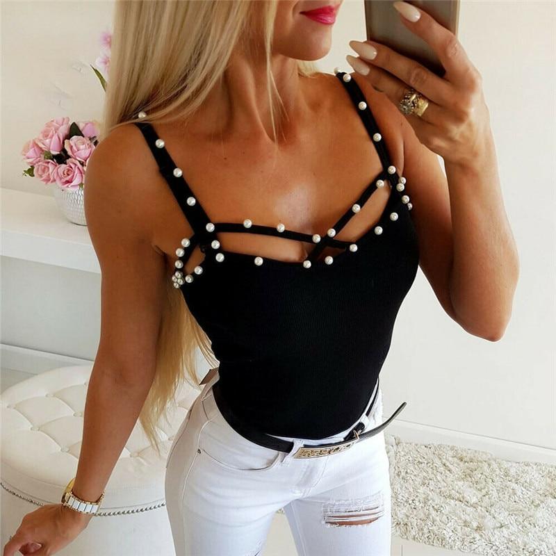 2019 mujeres verano camiseta sin mangas Sexy negro fiesta Top ropa de calle con aberturas sin mangas camiseta chaleco señoras Casual ropa de moda