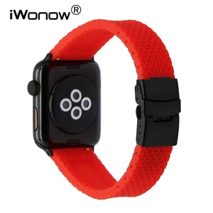 Silicone Rubber Strap with Quick Release Adapters for 38mm 42mm iWatch Apple Watch Wrist Band Safety Buckle Bracelet Multi Color