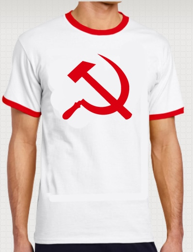 Camiseta de manga corta para hombre, Camiseta con estampado de martillo y hoz Retro futbolista comunista, divertida camiseta (blanca)