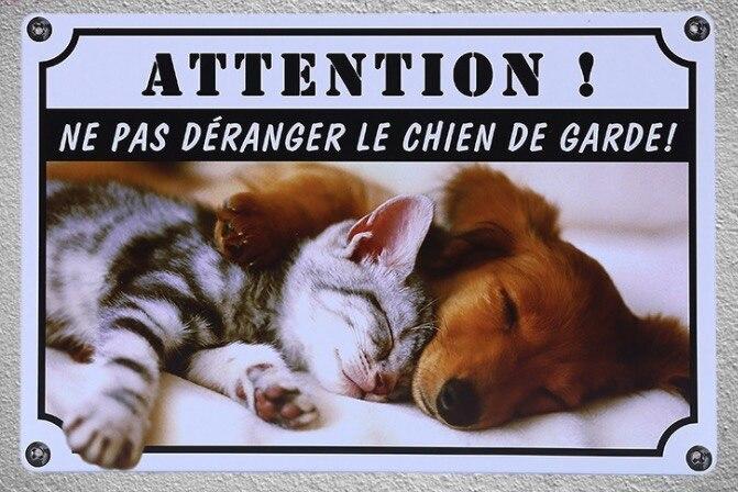 1 pc Francês não perturbe cão chien de garde jardin Placa de Lata placas de parede Decoração da casa de metal Dropshipping cartaz