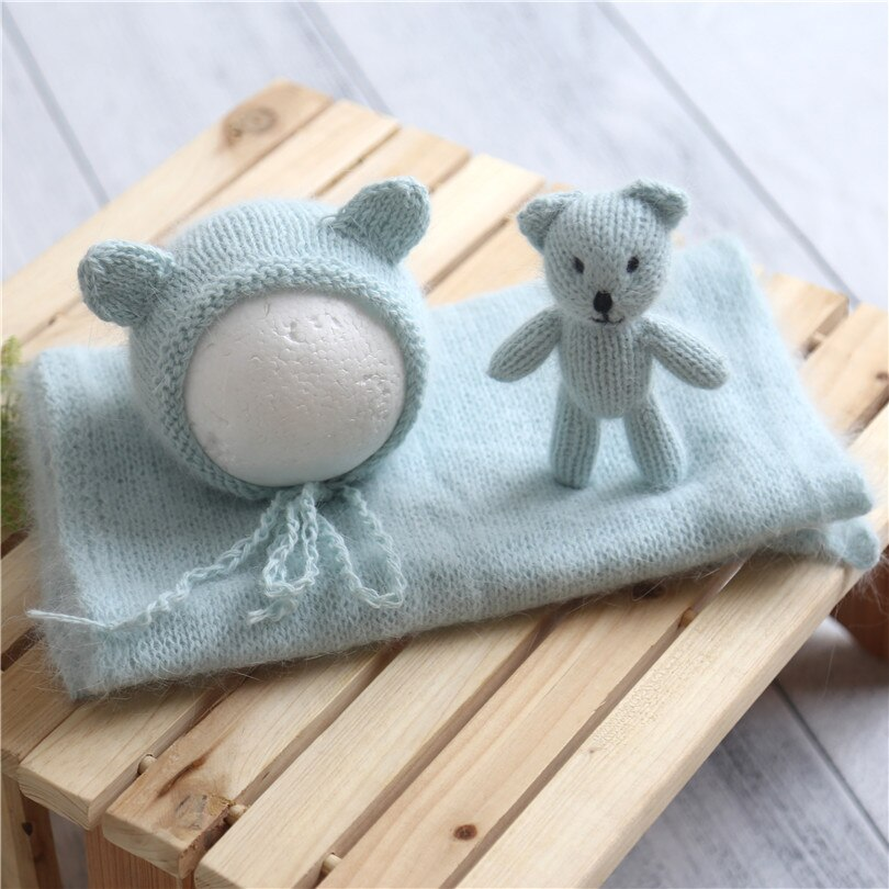 Angora Teddy Bear Bonnet Toy Set Newborn Fluffy Stretch Knit Wrap Baby Stuffer Filler Animal Toy Photography Props Layer Fabric
