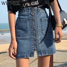 WITHZZ-jupes de Style coréen pour Femme, taille haute, fermeture éclair, été, un Vintage Demin, ample