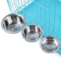 new stainless steel pet dog bowl food water drinking cage cup hanger food water bowl travel bowl for pet feeding tools