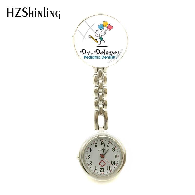 2018 nova pediatra dentista logotipo enfermeiros relógio dental enfermeira relógios de vidro cabochão jóias arte redonda photo watch clip-on