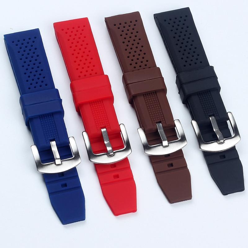 Pulseira de relógio de silicone, 18mm 20mm 22mm 24mm forte flexibilidade, borracha de silicone, pulseira para tag watch heuer aquarace monaco pulseiras de relógio