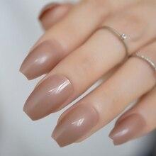 Licht Braun Sarg Gefälschte Nägel Mode Form Nail art DIY Tipps Maniküre Medium Bunte Nägel für Finger 24 Ct