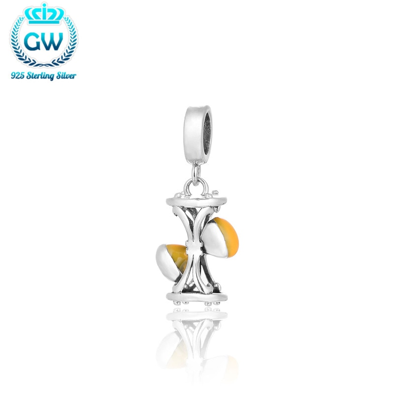 100% 925 sablier en argent Sterling Emanel Dangle perles breloque convient aux bracelets à breloques et colliers de bijoux à bricoler soi-même européenne S205-30