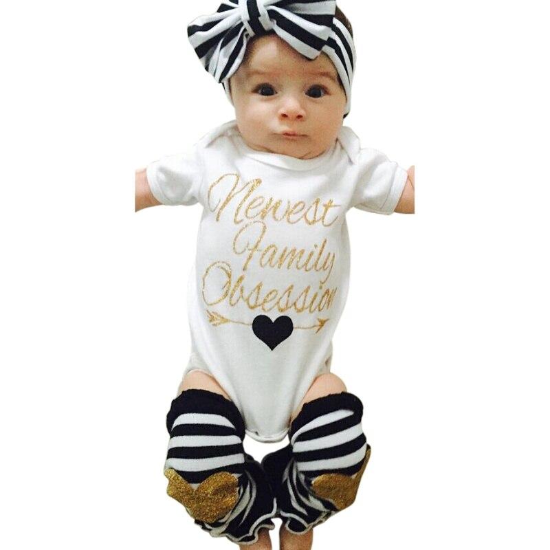 Conjunto de bebé de verano a rayas recién nacido niños niñas Negro diademas + mamelucos + calentador de piernas vestimenta a rayas Set 0-24 M 3 uds