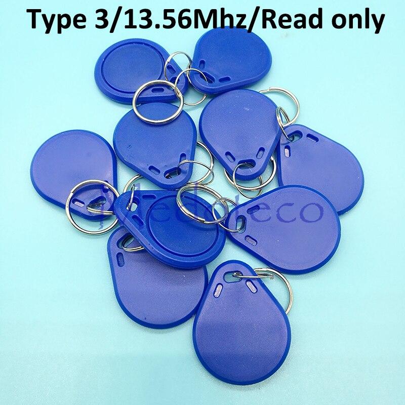 10 pces tipo 3 13.56mhz ic keyfobs cartão da microplaqueta de fudan leia somente o cartão da chave-corrente do acesso para a chave do sistema de controle de acesso somente