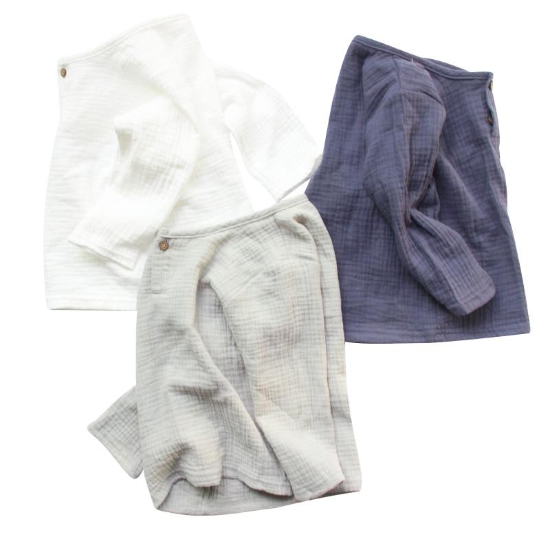 Льняные летние хлопковые футболки для маленьких мальчиков и девочек, 2018 г. Новые удобные топы для малышей, детская одежда на пуговицах, рост 80-130 см