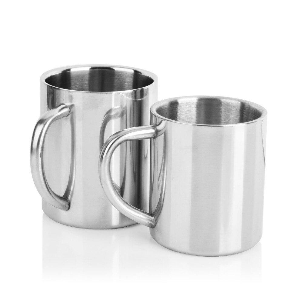 Taza de café de acero inoxidable de doble pared, 300ml, Taza Termo portátil, vaso de viaje, jarra de café, té de la leche, tazas de agua de doble Oficina