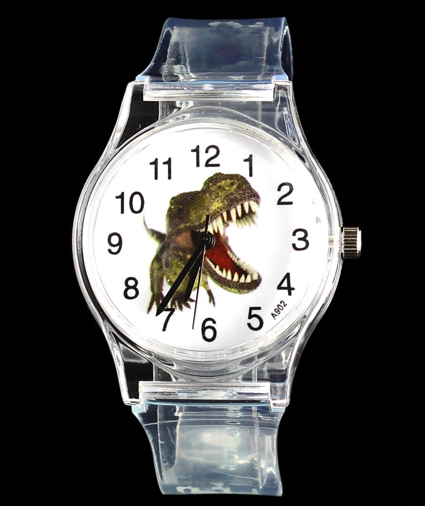 Dinosaur Cartoon Watch Children Kids Transparent Dragon Dino Quartz Wrist Watches