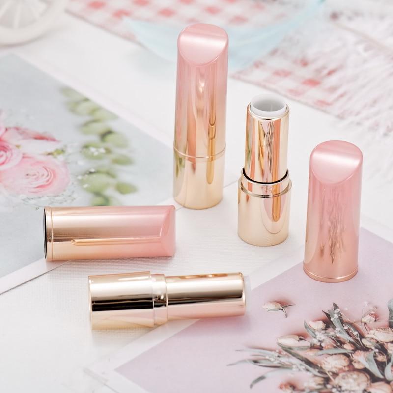Tube de Rouge à lèvres cosmétique vide en plastique rose et or 12.1mm, récipient rechargeable de Rouge à lèvres de beauté fait main dégradé, bouteille de baume à lèvres