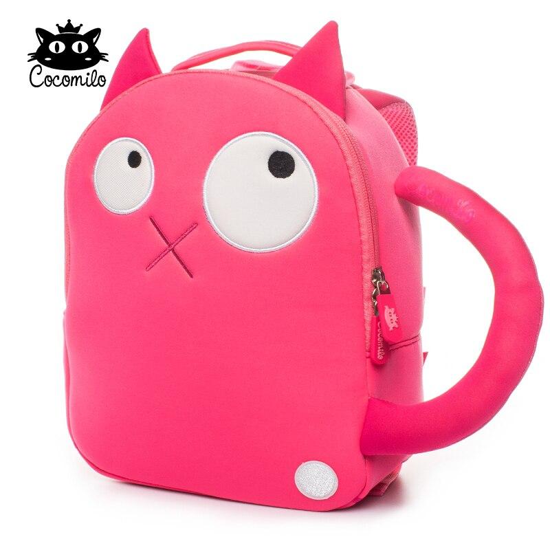 Cocomilo Kids School Backpack Girls Lovely Pink Cat Printing Anti-lost Baby Bag with Belt Cute Kindergarten Animal School Bag