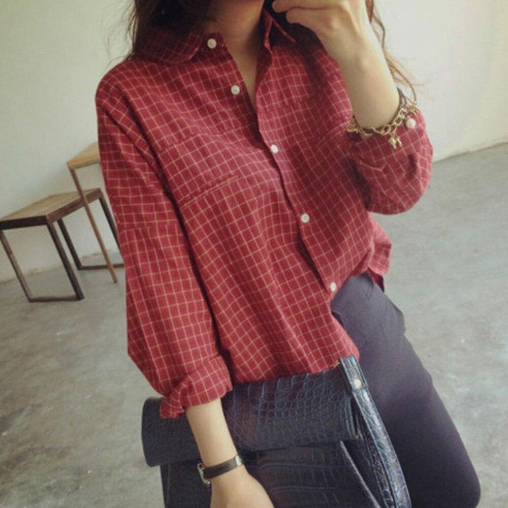 Camisa de manga larga para mujer con estampado de entramado informal de algodón y lino estilo suelto a la moda coreana