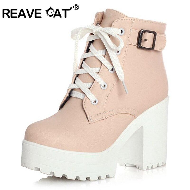 REAVE القط 3 اللون الشتاء الدانتيل متابعة مثير النساء الأحذية الأزياء منصة عالية الكعوب مربع أسود مشبك الكاحل الأحذية زائد حجم 34-43