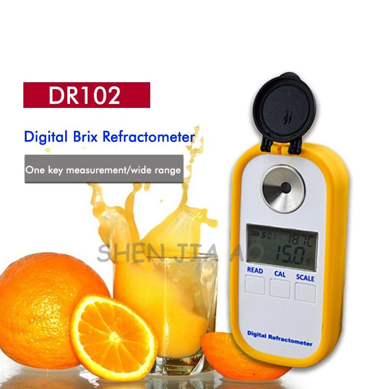 1 sacárimetro digital portátil DR102 refractómetro de azúcar digital portátil 0-90% índice de refracción