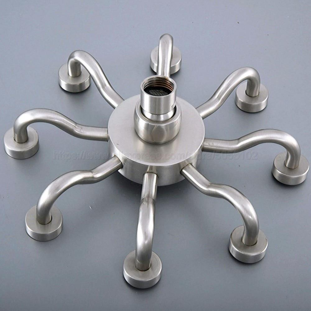 """Chuvas 8 """"níquel escovado cabeça de chuveiro do banheiro substituir chuva chuveiro handshower torneira acessório (padrão 1/2"""") zsh272"""