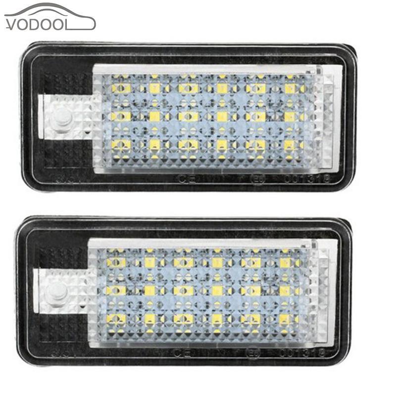 2 uds Error Free LED luz de matrícula de coche 6500K blanco 12V lámpara del vehículo para Audi A3 A4 B6 B7 A6 A8 Q7 A5 Auto Accesorios
