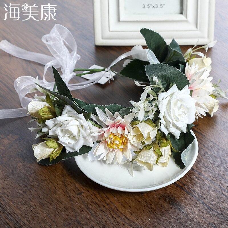 Haimeikang Women New Boho Handmade Flower Crown Hair Bands Garland Wedding Vacation Flowers Wreath Headdress Hair Accesories