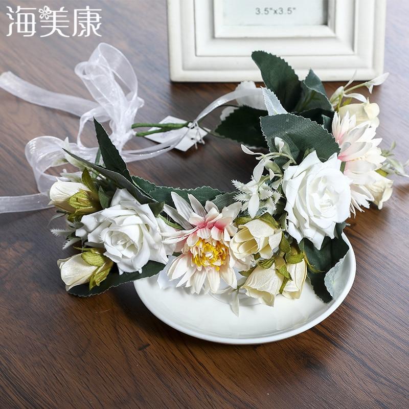 Haimeikang novo boho flor artesanal coroa de cabelo bandas guirlanda casamento férias flores grinalda cabelo acessórios