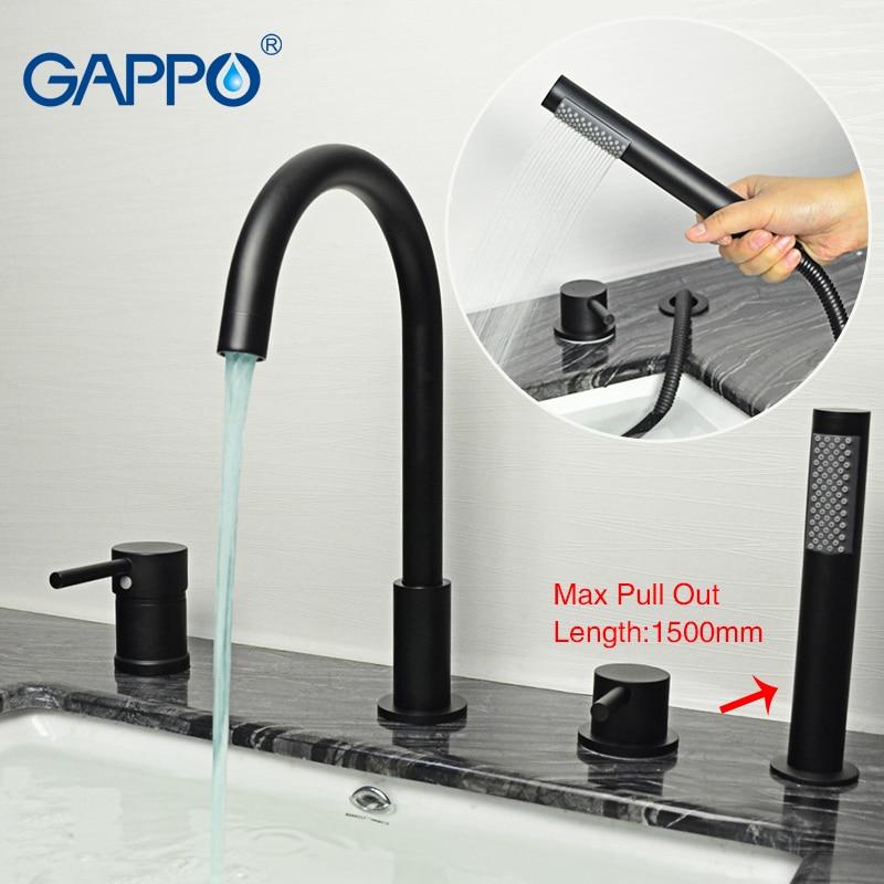 Grifo de bañera GAPPO Split, grifos de fregadero negros de lluvia para baño, mezclador de agua montado en la pared, grifo mezclador de ducha, conjunto de artículos sanitarios