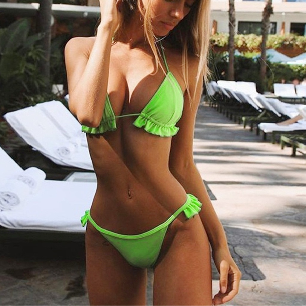 Sexy Two Piece Bikini Women Push-Up Padded Bandage Bra Set Ruffles Swimsuit Girls Summer 2019 Low Waist Suit Swimwear Beachwear