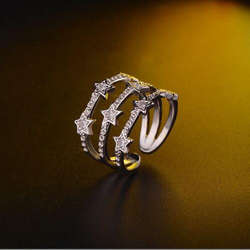 Joyería de marca de alta calidad, anillos de Estrella de oro y plata rosa, exquisito Micro pavé de circón, 3 capas de nudillo libre, anillo de Mónaco para mujeres