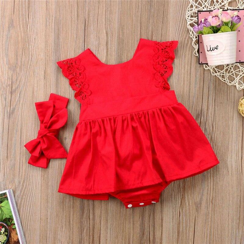 PUCOCO US Stock Navidad recién nacido niña encaje sólido princesa Romper vestido diadema traje vestido de verano de flores ropa 0-24M