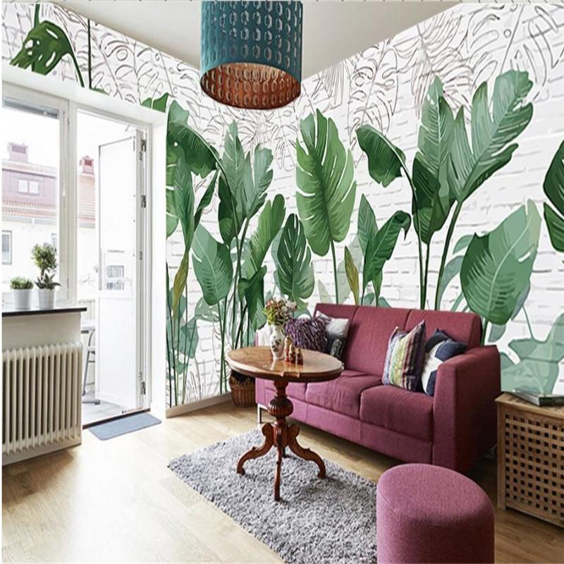 Papel tapiz personalizado beibehang 3d, papel pintado a mano nórdico, planta de ladrillo, hojas de plátano, papel pintado, papel pintado en la sala de estar, TV