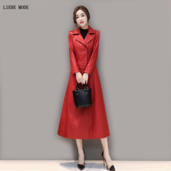 Women Lower Edge Detachable Faux Leather Long Jacket Womens Pu Leather Trench Coat for Women Casual Overcoat Black Red Plus Size enlarge