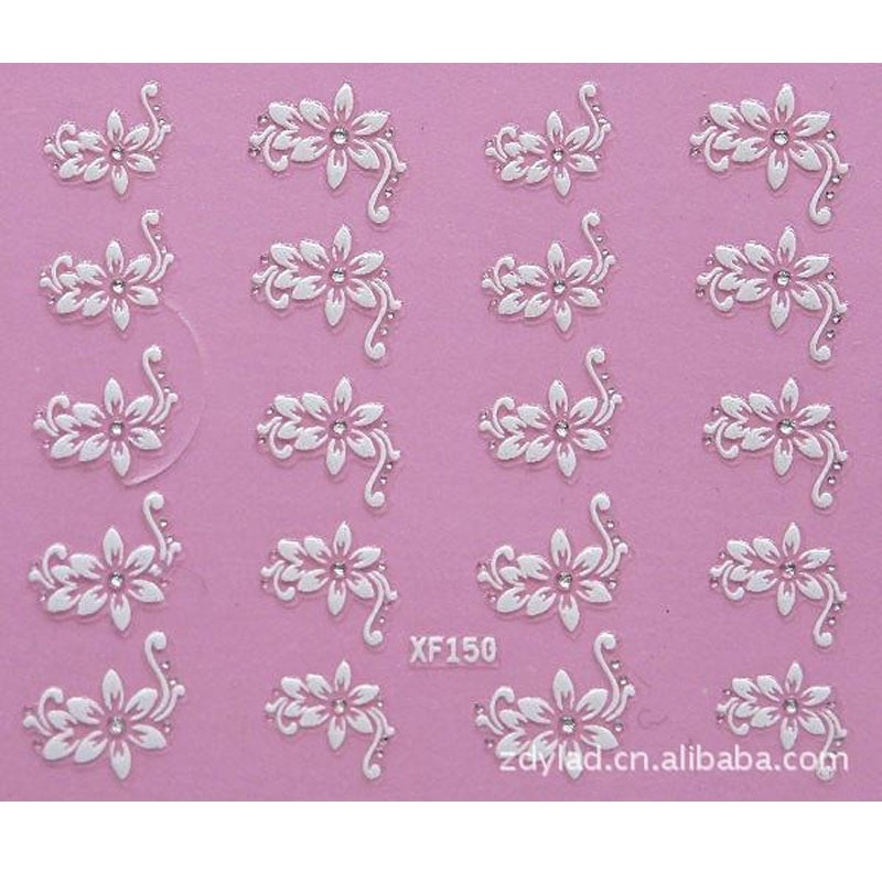 3D DIY Flower Design Water Transfer Nails Art Sticker Lady Women Manicure Tools Nail Wraps Decoratio