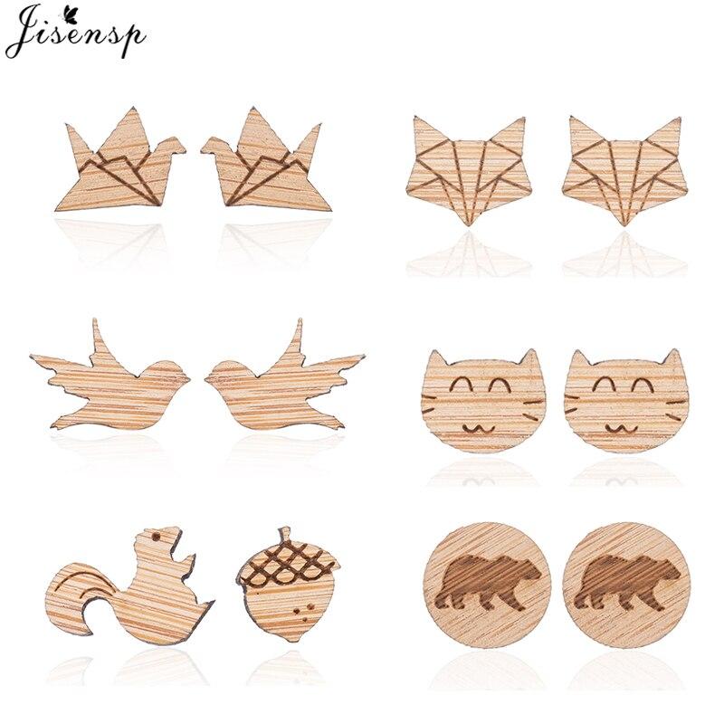 Jisensp Simple Design Paper Crane Women Earrings Lovely Animal Wooden Earrings Jewelry Studs for Wom