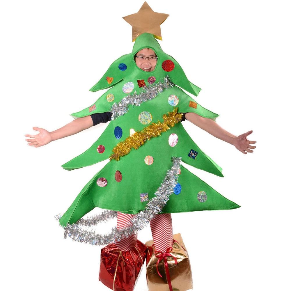 Árvore de natal Do Traje de Santa Árvore Engraçado Do Partido Do Traje Do Traje Da Mascote Fancy Dress Adulto Crianças Mascotte Macacão Traje Do Natal